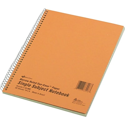National® Wirebound 1-Subject Green Tint Notebook, 10 x 8, Narrow/Margin Ruled, 80 Sheets