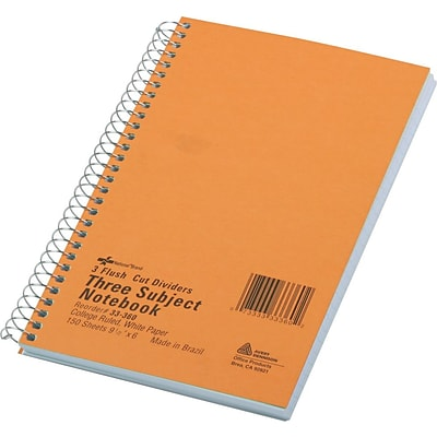 National Brand® 3-Subject Wirebound Notebooks, College Ruled, 6x9-1/2