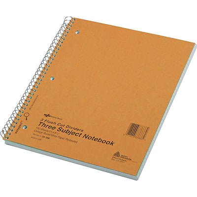 National® Wirebound 3-Subject Notebook, 11 x 8 1/2, College/Margin Ruled, 150 Sheets