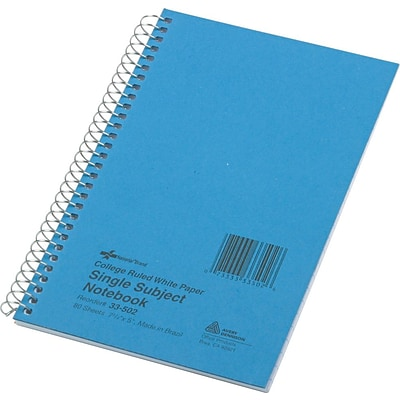 Rediform Wirebound 1-Subject Notebook, College/Margin Ruled, 7 3/4 x 5, 80 Sheets/Book