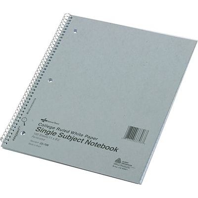 National® Notebook, 1 Subject, Assorted Colors, College Ruled, 100 Sheets, 11 x 8 7/8