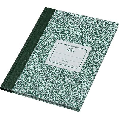 National® Laboratory Notebook, Green Hard Cover, Wide Ruled, 10 1/8 x 7 7/8, 96 sheets