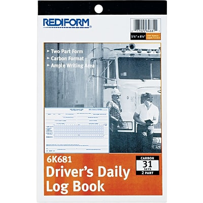 Rediform Drivers Daily Log Book, 2 Part Carbon, 5 1/2 x 7 7/8, 31 Sets per Book