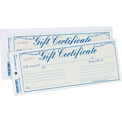 Gift Certificate W/Envelopes, Crbnls, 3-2/3x8-1/2, BE/GD