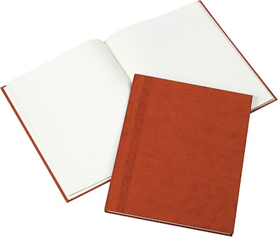 "Blueline® Da Vinci Business Notebook/Journal, Bound Leather-Like Tan Cover with Embossing, 150 Cream Pages/75 Shts, 11"" x 8-1/2"""