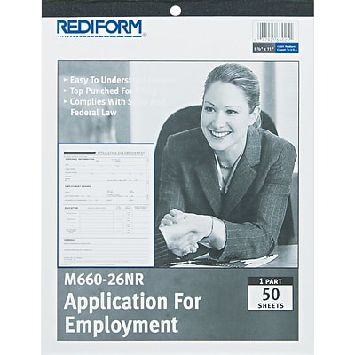 Rediform Applications For Employment, 8-1/2 x 11, White