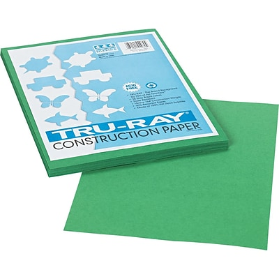 Tru-Ray® Fade Resistant Art Construction Paper, Holiday Green,  9x12, 50 Sheets