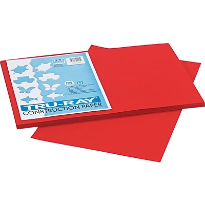 Tru-Ray® Sulphite Construction Paper, 12 x 18, Holiday Red, 50 Sheets