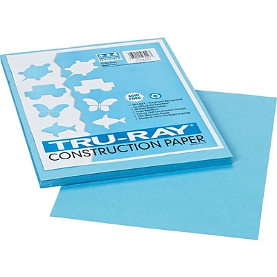 Tru-Ray® Sulphite Construction Paper, 9 x 12, Sky Blue, 50 Sheets