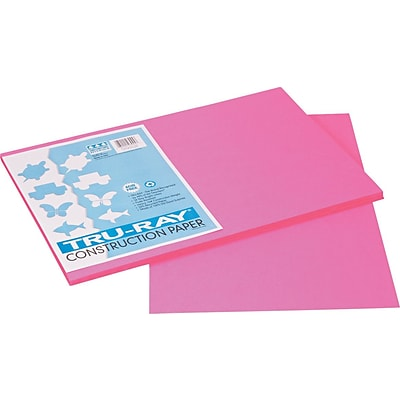 Tru-Ray® Sulphite Construction Paper, 12 x 18, Shocking Pink, 50 Sheets