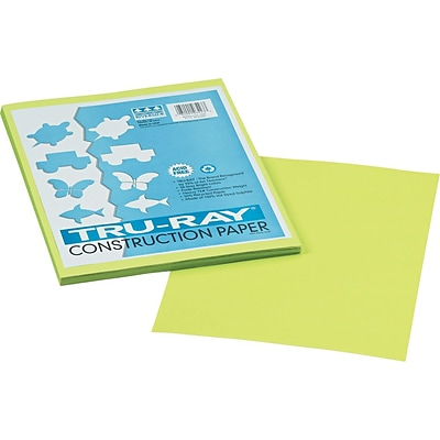 Tru-Ray® Sulphite Construction Paper, 9 x 12, Brilliant Lime, 50 Sheets