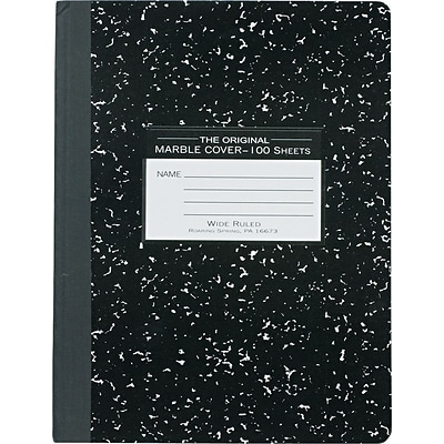 Roaring Spring® Composition Book 7-1/2x9-3/4, Wide Ruling, White, 100 Sheets/Pad