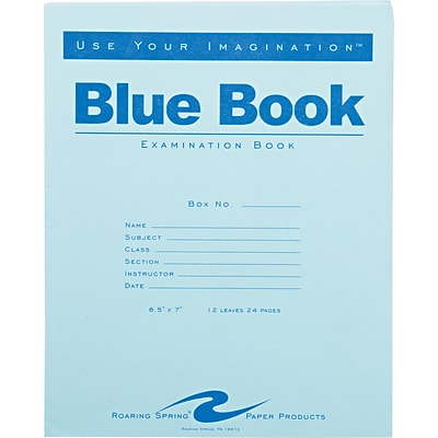 Roaring Spring Paper Products Blue Exam Book, 8 1/2 x 7, 12 sheets/24 pages, Wide Ruled W/Margin
