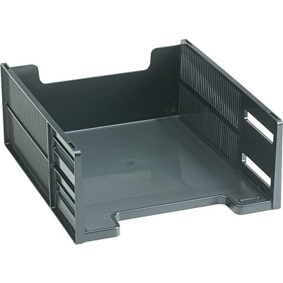 Rubbermaid High-Capacity Stackable® Tray, Front-Load, Letter, Ebony, 5H