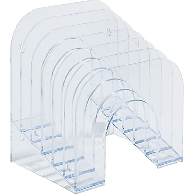 Rubbermaid Optimizers™ Jumbo Incline Sorter, 6 Compartments, Clear, 7 3/8H x 9 3/8W x 10 1/2D
