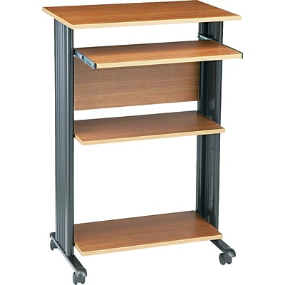 Safco® Fixed Height Stand Up Computer Workstation, Oak