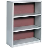 Safco ValueMate Baked Enamel Finish on Steel Bookcase, Gray, 3-Shelf, 41H x 31 3/4W x 13 1/2D