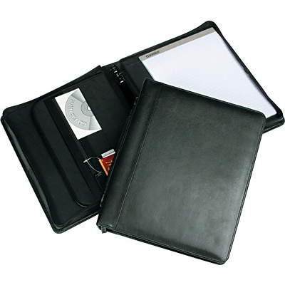 Samsill Regal™ Genuine Leather Zipper Ring Binder Padfolio, Black, 8 1/2 x 11