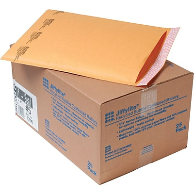 10 1/2 x 16 Sealed Air Jiffylite® Self-Seal Kraft Mailers, Side Seam, #5, Golden Brown, 25/Ct (10190)