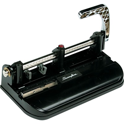 Swingline® Accented Heavy Duty 2-7 Hole Punch, Adjustable Centers, 40 Sheet Capacity, Black with Woodgrain Accents (A7074400)