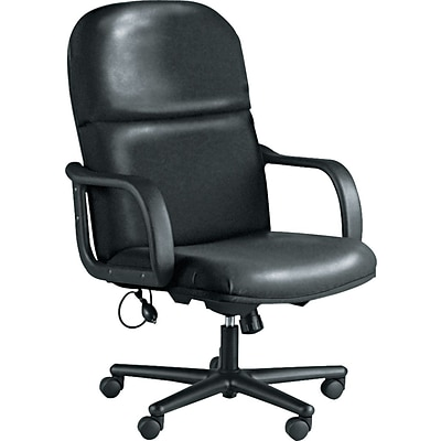 Tiffany Industries Big and Tall Leather Executive Swivel/Tilt Chair with PU Arms, Black