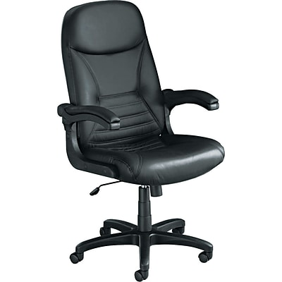 Tiffany Industries™ Big & Tall Executive Leather Chair with Upholstered Arms, Black