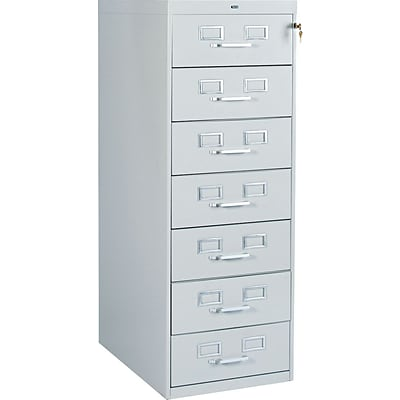 7-Drawer Multimedia Cabinet For 5 x 8 Cards; Light Grey; 38,100 Card Capacity; 52Hx19-1/8Wx28-1/2D