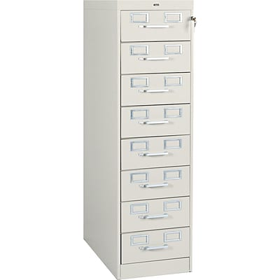 8-Drawer Multimedia Cabinet For 3x5 & 4x6 Cards, Putty, 43,400 Card Capacity, 52Hx15Wx28-1/2D
