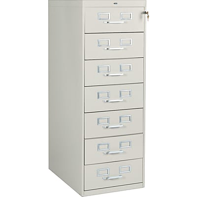 7-Drawer Multimedia Cabinet For 5 x 8 Cards, Putty, 38,100 Card Capacity, 52Hx19-1/8Wx28-1/2D