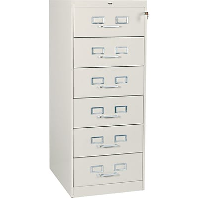 6-Drawer Multimedia Cabinet For 6 x 9 Cards; Putty; 32,600 Card Capacity; 52Hx21-1/4Wx28-1/2D