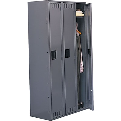 Tennsco® Heavy Gauge Steel Single Tier Lockers, 3 Wide, Medium Grey
