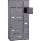 Heavy-Gauge Medium-Grey Steel 3-Wide Locker