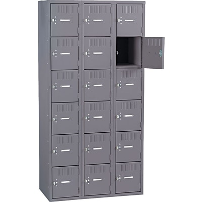 Tennsco® Heavy Gauge Steel Box Compartment Lockers, 3 Wide, Medium Grey