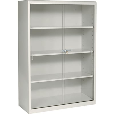Tennsco® Executive Steel Bookcases, With Glass Doors, Putty