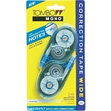 Tombow Mono Wide-Width Correction Tape, Non-Refillable, White, 2 Line, 1/4 x 394, 2/Pk