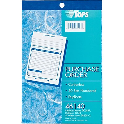 TOPS® Purchase Order Book, Ruled, 2-Part, White/Canary, 8-7/16 x 5-9/16