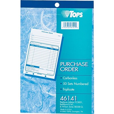 Tops® Carbonless Purchase Order Books,  3 Parts, 5-1/2x7-7/8, 50 Sets/Book