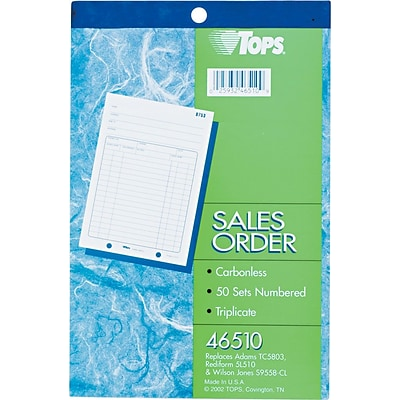 TOPS® Order Book, Ruled, 3-Part, White/Canary/Pink, 8 7/16 x 5 9/16, 1/Ea