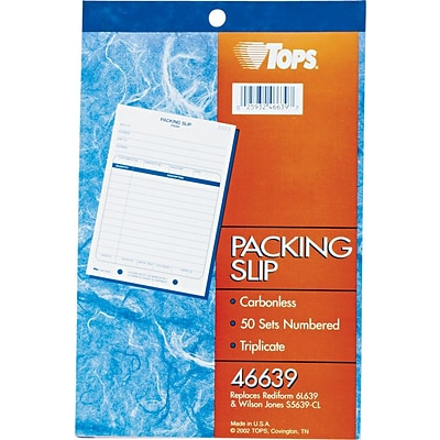 TOPS® Packing List 3-Part Carbonless Book, White/Canary/Pink, 8 7/16 x 5 9/16 (46639)