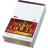 Docket® Gold Notepad, Legal Rule, White, 20 lb, Rigid Back, 50 Sheets/Pad, 12 Pads/Pack, 8-1/2x14