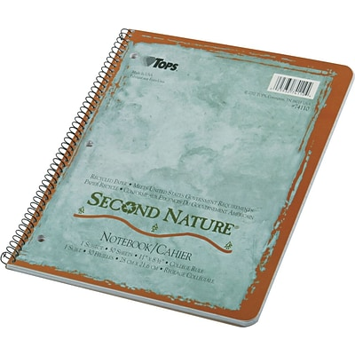 TOPS® Second Nature® Wirebound Notebook, 11 x 8 1/2, College Ruling, 50 sheets