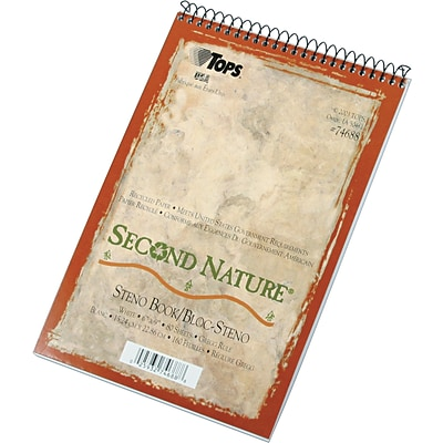 TOPS® Second Nature Wirebound Steno Pad, 6 x 9, Gregg Rule, White, 100% Recycled, 80 Sheets (74688)