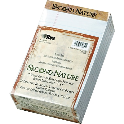 Second Nature® Legal Notepad, White, Perforated, Recycled, 50 Sheets/Pad, 12 Pads/Pack, 5 x 8