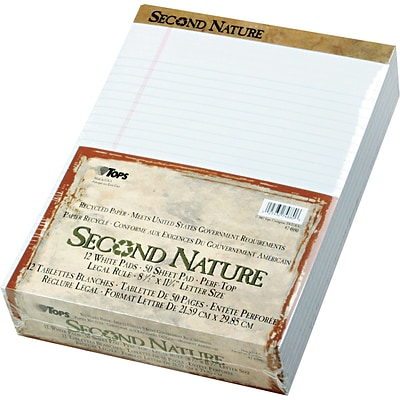 Tops® Second Nature® Recycled Legal Pad; 8-1/2x11-3/4, Legal Ruling, White, 50 Sheets/Pad, 1 Dozen
