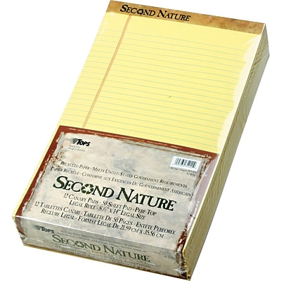 Second Nature® Legal Notepad, Canary, Perforated, Recycled, 50 Sheets/Pad, 12 Pads/Pack, 8 x 14