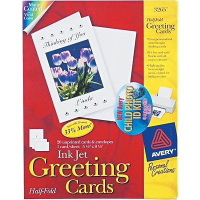 Avery®, Inkjet Half-Fold Greeting Cards, White, Matte, 5 1/2 x 8 1/2