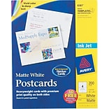 Avery® Inkjet Postcards, Matte Finish, 5 1/2 x 4 1/4 200/Pack (8387)