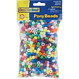 Chenille Kraft Company Plastic Pony Beads, Assorted Colors, 6mm x 9mm, 1,000/Pk (3552)