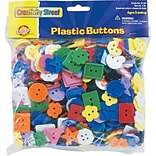 Plastic Buttons, 1 lb., Assorted Shapes & Colors