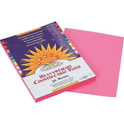 Pacon SunWorks Construction Paper, 58 lbs., Pink, 9 x 12, 50 Sheets/Pk